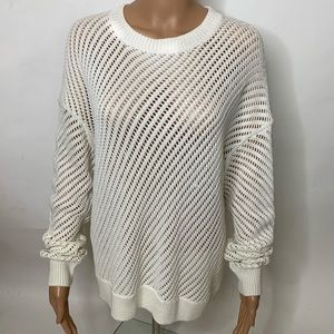 Vince Knitted Net Off White Oversized Sweater